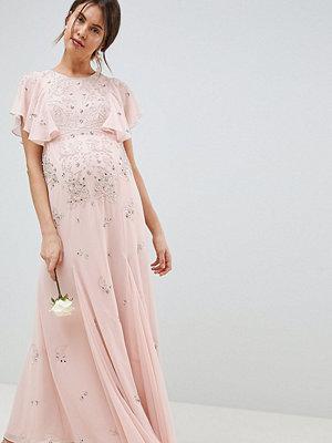 ASOS Maternity ASOS DESIGN Maternity delicate embellished bridesmaids maxi dress with angel sleeve - Blush