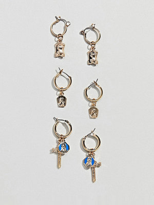 ASOS örhängen DESIGN pack of 3 hoop earrings with vintage style cross and icon charm