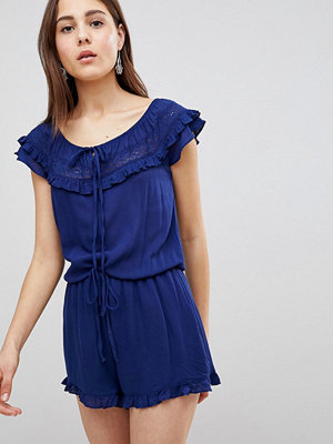 Brave Soul Candy Playsuit with Frill Off Shoulder