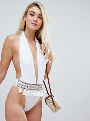 PrettyLittleThing Plunge Embroidered Tassle Swimsuit