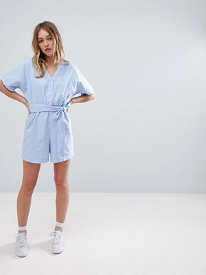Monki Chambray Playsuit In Light Blue