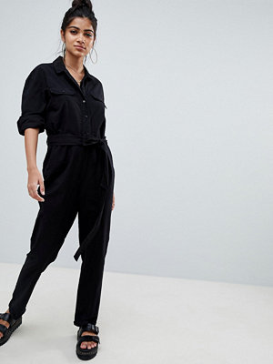 ASOS DESIGN washed cotton boilersuit - Black