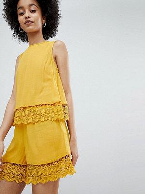 Miss Selfridge playsuit with double crochet layer in ochre - Ochre