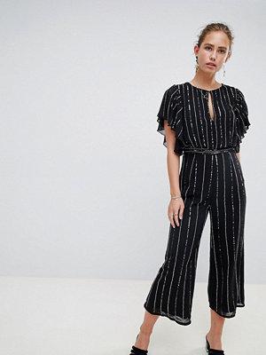 Miss Selfridge jumpsuit in glitter stripe and angel sleeve