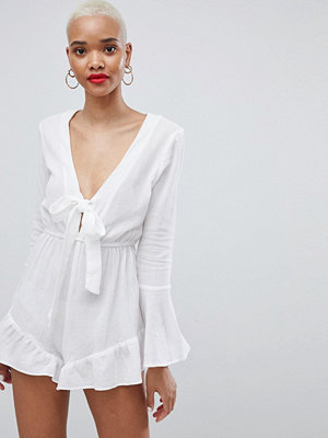 PrettyLittleThing Cheesecloth Bell Sleeve Playsuit