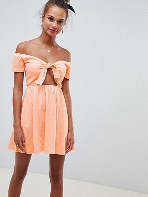 ASOS DESIGN bardot sundress with tie front - Papaya