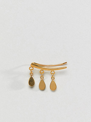 ASOS örhängen DESIGN ear crawler in gold plated sterling silver with teardrop charms