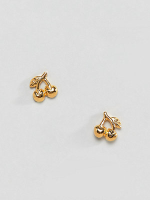ASOS örhängen DESIGN stud earrings in gold plated sterling silver in cherry design