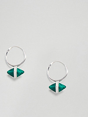 ASOS örhängen DESIGN hoop earrings with shard stone in sterling silver
