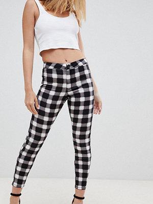 ASOS Petite Rivington Jeans med hög midja i monokromt ginghammönster Mono