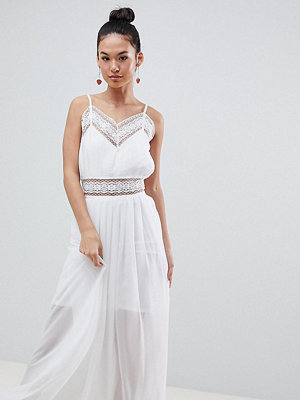 Boohoo Strappy Lace Insert Maxi Dress - White