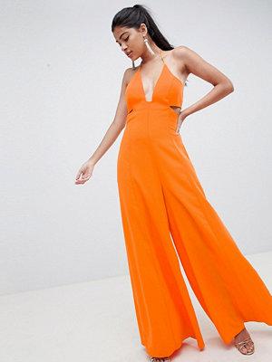 ASOS DESIGN jumpsuit with cut out detail and super wide leg - Bright orange