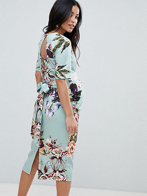 True Violet Maternity bow back midi bodycon dress in floral print - Mint floral