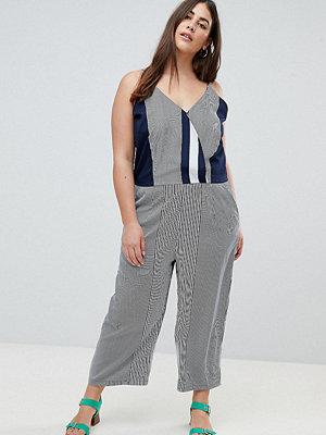 AX Paris Plus Mönstrad jumpsuit med oregelbundna ränder Marinblå/vitrandig