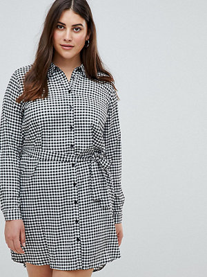 AX Paris Plus Gingham Shirt Dress - Black/white gingha