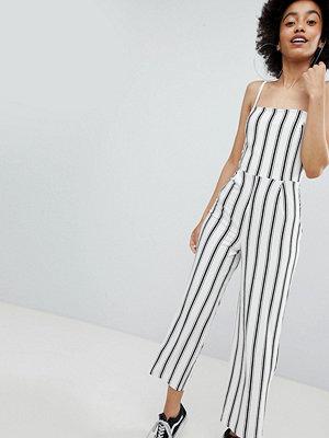 Jumpsuits & playsuits - Bershka stripe wide leg jumpsuit in cream - Ecru