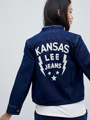 Lee Collarless Denim Jacket with Embroidered Detail - Dusk blue