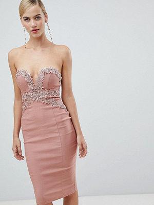 Ra-Re London strapless crochet midi dress - Blush pink