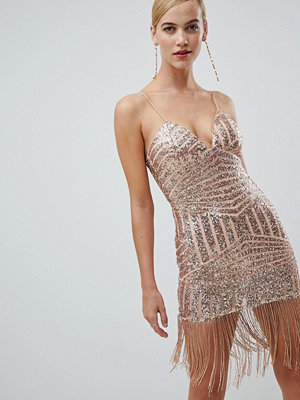 Ra-Re London sequin and fringe bodycon dress