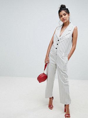 ASOS DESIGN tux jumpsuit in stripe with button front - Stripe