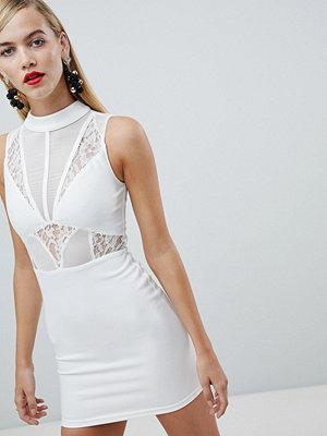 Ra-Re London high neck lace panel mini dress