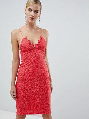 Ra-Re London lace detail midi dress - Coral