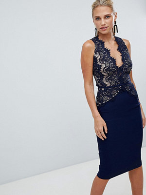 Ra-Re London sleeveless eyelash lace midi dress