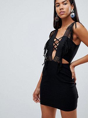 Ra-Re London lace up fringe plunge mini dress