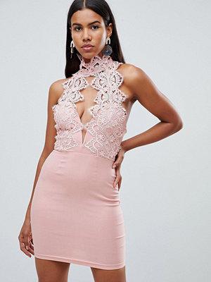 Ra-Re London high neck plunge lace mini dress - Blush pink
