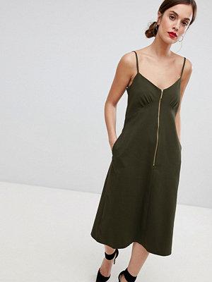 Closet London Cami Zip Midi Dress - Khaki