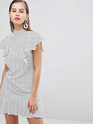 Closet London Lace Frill Dress - Black/ white