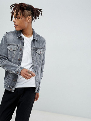 AllSaints Denim Jacket In Washed Black With Distress - Washed black