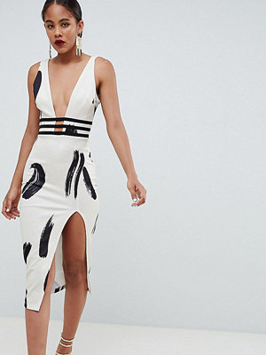 Asos Tall ASOS DESIGN Tall smudge print plunge bodycon dress
