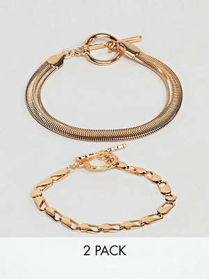 ASOS armband DESIGN pack of 2 bracelets with heavyweight chain and flat rope chain gold