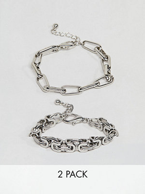 ASOS armband DESIGN pack of 2 bracelets in heavyweight chain in silver - Rhodium