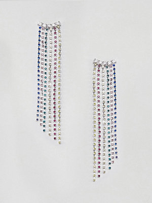 ASOS örhängen DESIGN earrings with rainbow crystal drop design in silver - Multi