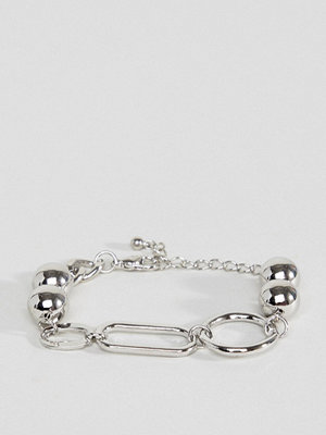 ASOS armband DESIGN chain bracelet with oversized link and ball detail in silver - Rhodium