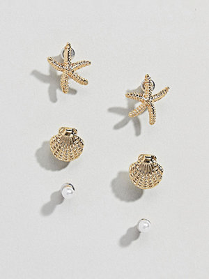ASOS örhängen DESIGN pack of 3 stud earrings with shell and starfish design