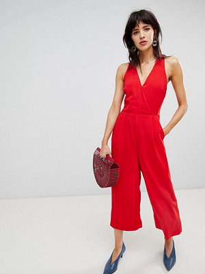 Warehouse jumpsuit with v neck