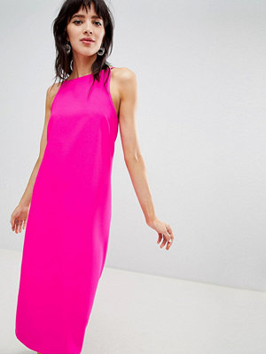 Warehouse midi dress with high neck in bright pink