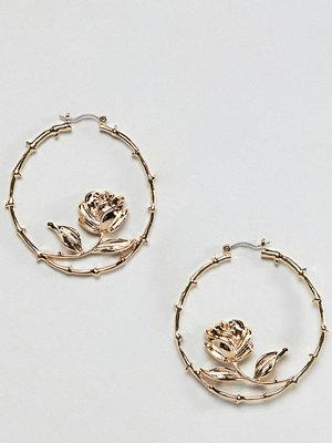 Reclaimed Vintage örhängen inspired rose hoop earrings