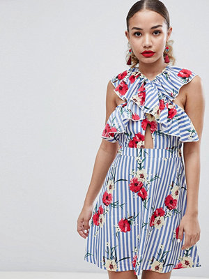 Boohoo Floral And Stripe Skater Dress