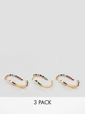ASOS Curve ASOS DESIGN Curve Exclusive pack of 3 rings with multicolour jewels