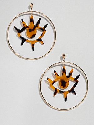 ASOS örhängen DESIGN resin eye motif metal hoop earrings