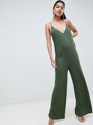ASOS DESIGN strappy jumpsuit with plunge front - Khaki