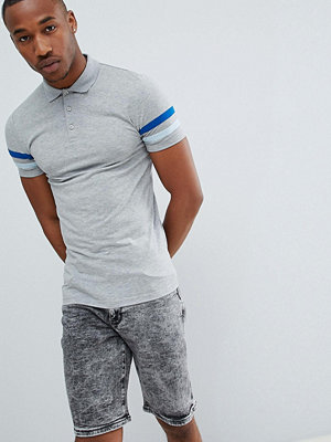 ASOS DESIGN muscle fit polo with contrast sleeve panels - Grey marl