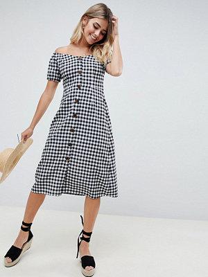 ASOS DESIGN button through midi off shoulder dress in gingham