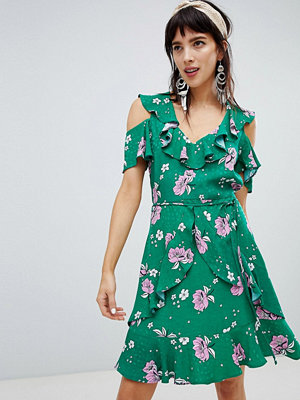 River Island dress with frill front in floral print - Green bright print