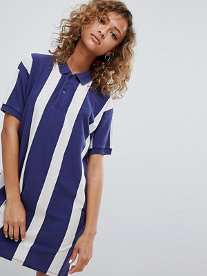Pull&Bear rugby dress in colourblock blue - Blue