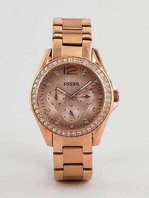 Klockor - Fossil ES2811 Riley Bracelet Watch In Rose Gold - Rose gold